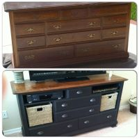 From old ugly dresser to beautiful entertainment center ...