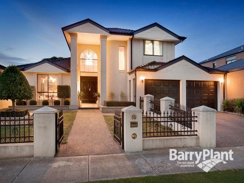 Brick Modern House Exterior With Portico & Decorative Lighting