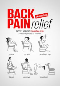 Back Pain Relief (Chair) workout. | exercises for back ...