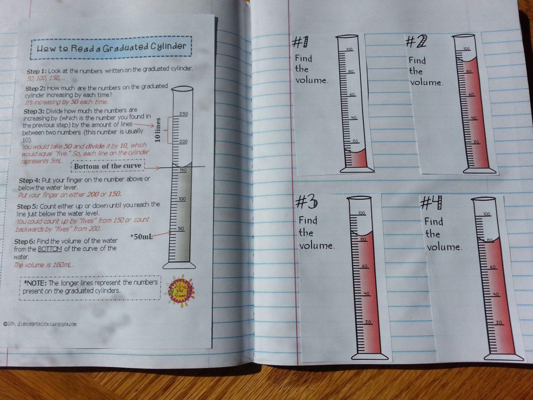Graduated cylinders measuring liquid volume task cards