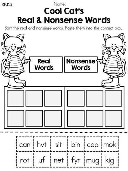 Cool Cat's Real & Nonsense Words Cut and Paste Sort