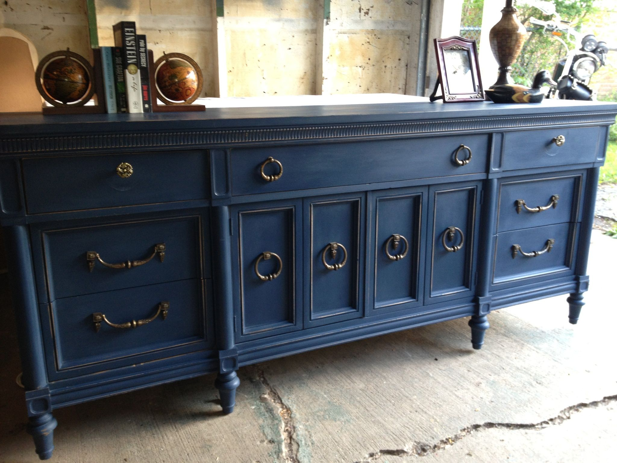 dark blue sofa table how to remove dye stain from leather navy painted vintage dresser by twice loved furniture