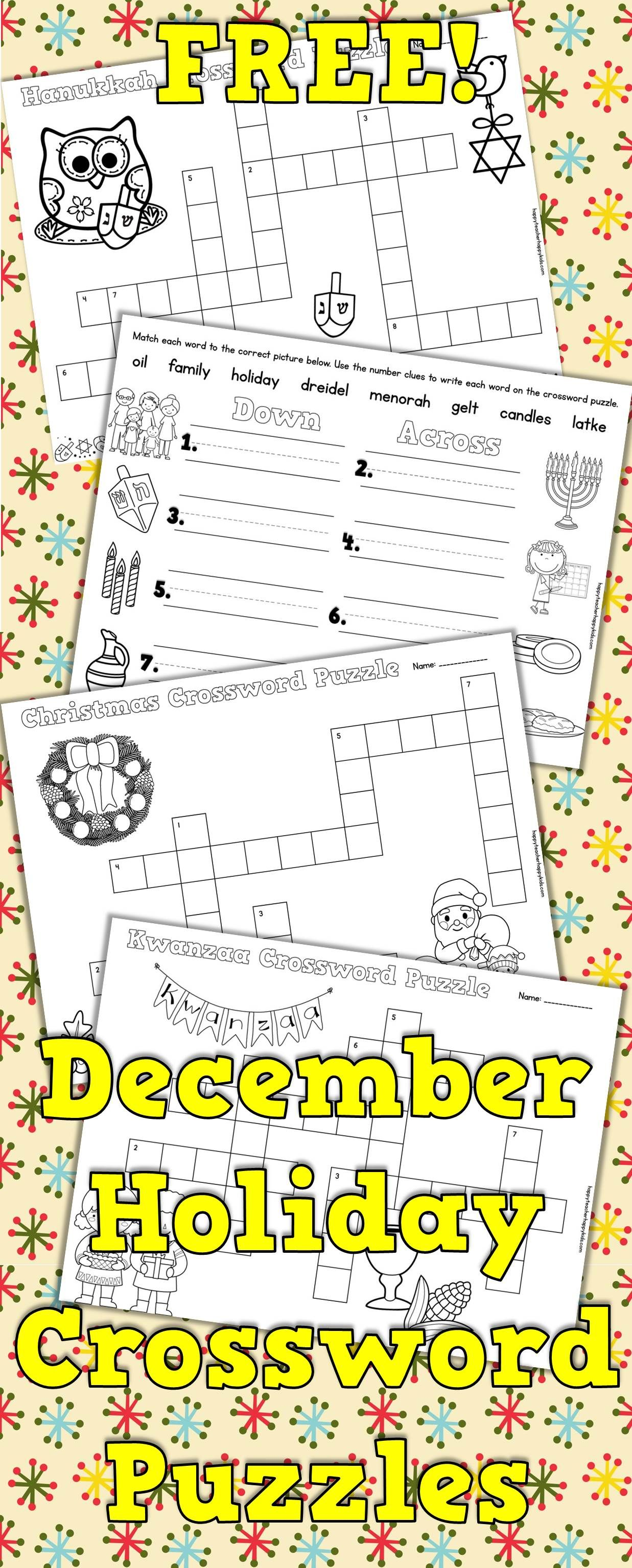 Free Christmas Kwanzaa Amp Hanukkah Crossword Puzzles For