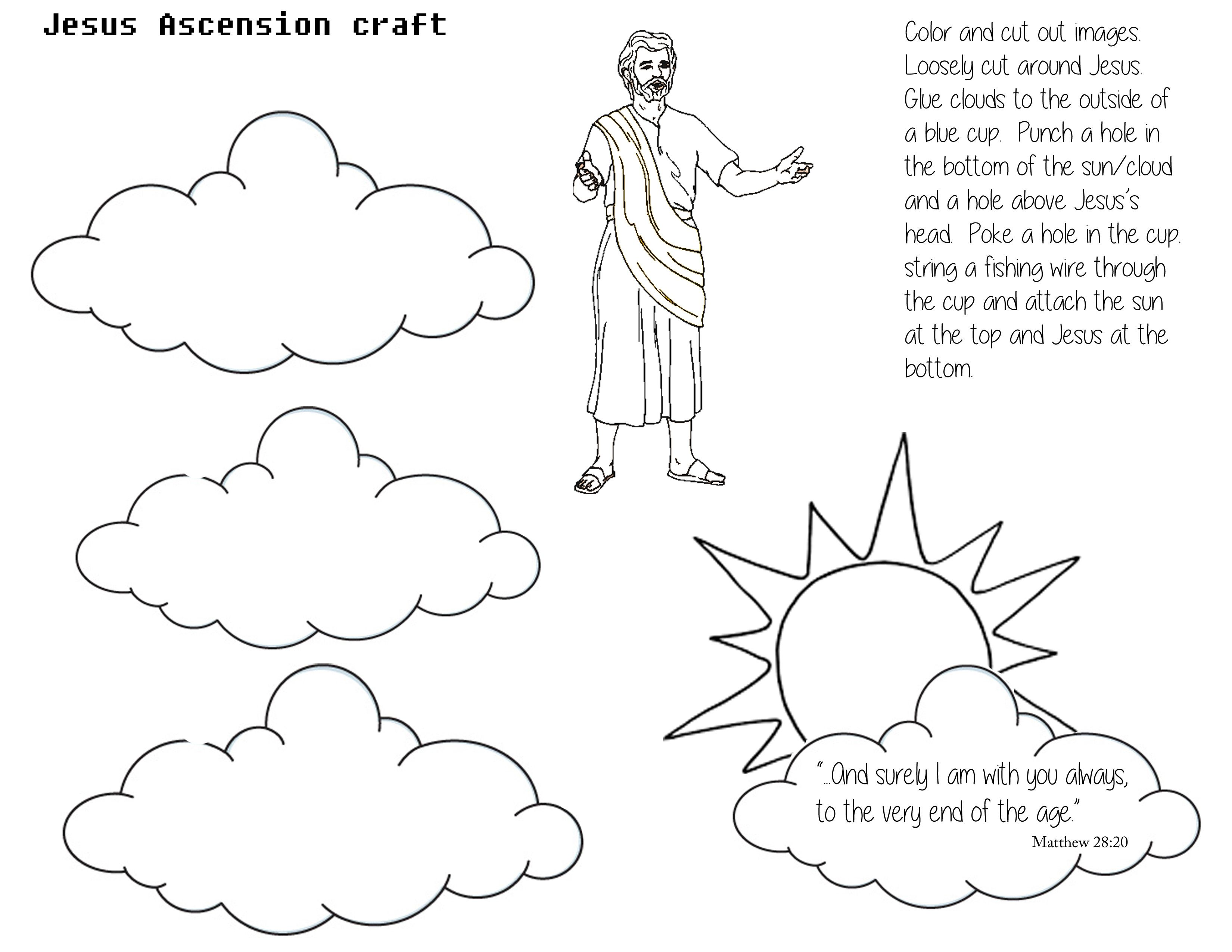 Craft page for Jesus's Ascension. Cut out sun/cloud and