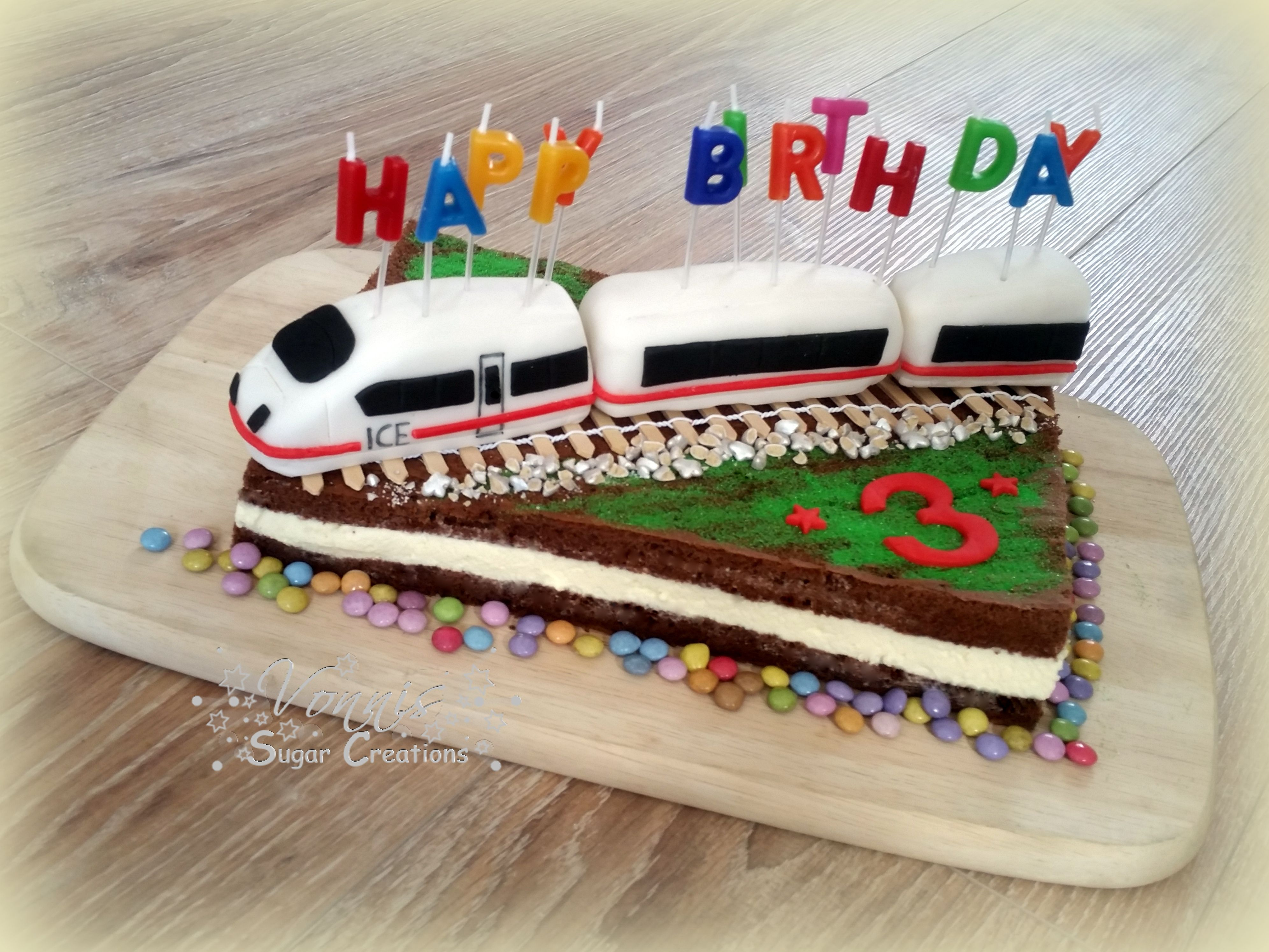 ICE train cake fondant 3 birthday child boy Milchschnitte
