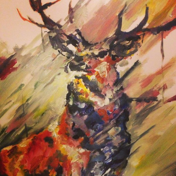 Deer Painting Abstract - Google Owl Paintings And