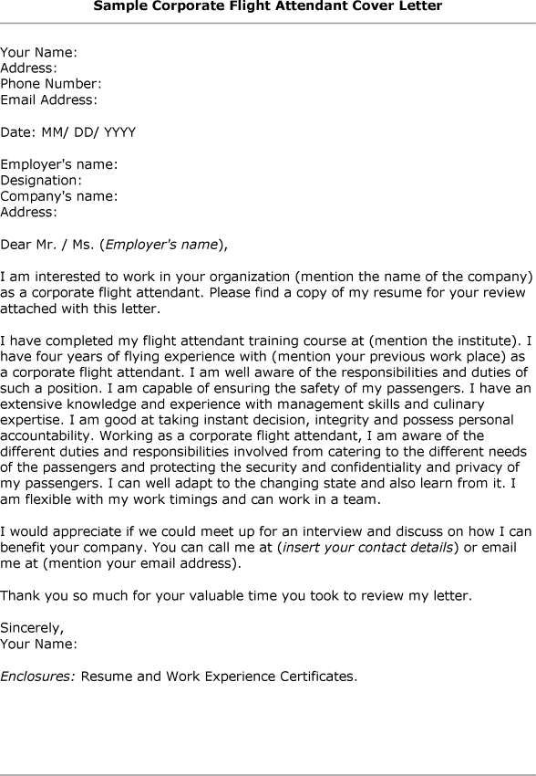 Flight Attendant Cover Letter | Template