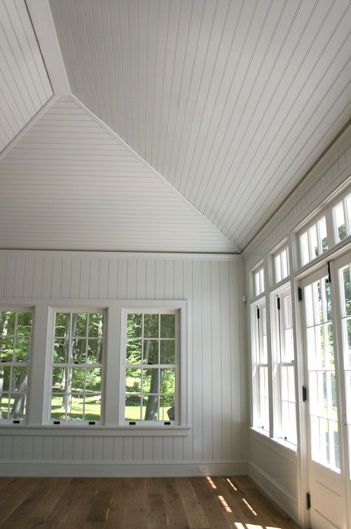 I love the beadboard panels on vaulted ceiling. I want