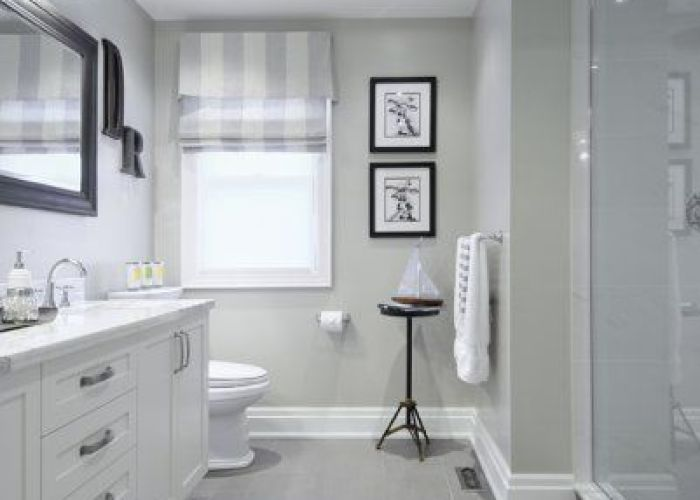 Gray tile floor with white vanity bathroom ideas love how they have also