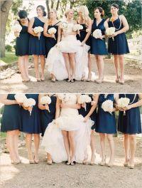 navy blue bridesmaid dresses neutral shoes.....but then I ...