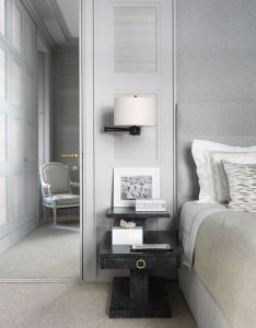 Interesting idea for  panel framing headboard against wall of fabric or suede also rh za pinterest