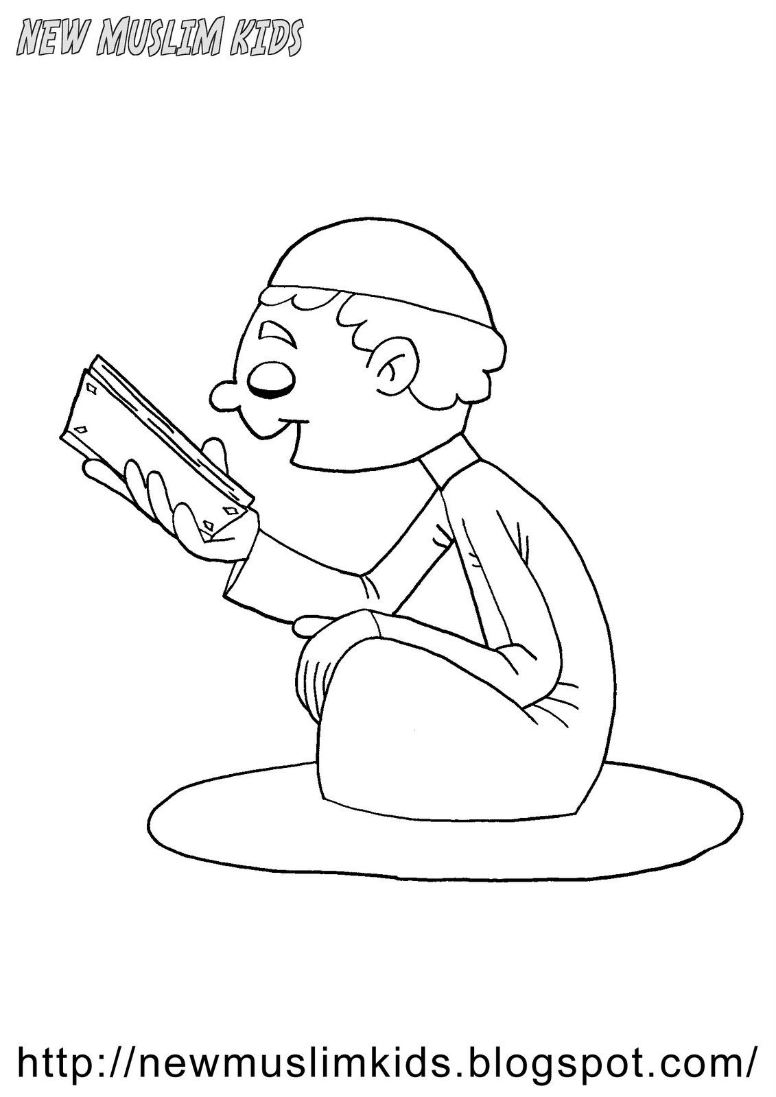 Reading Quran Coloring Page