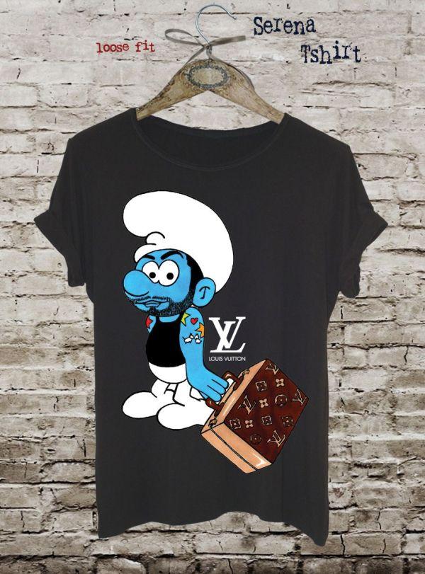 Funny Smurf T-shirt Louis Vuitton Graphic Tee Cotton Ladies Tank Top Fashion Design