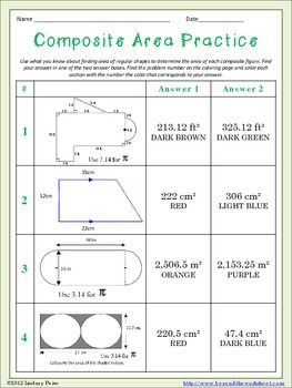 Composite Area Coloring Worksheet