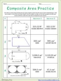 Composite Area Coloring Worksheet | Homework, Activities ...