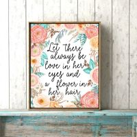 Boho Baby Girl Floral Nursery Print, Pink Coral And Teal ...