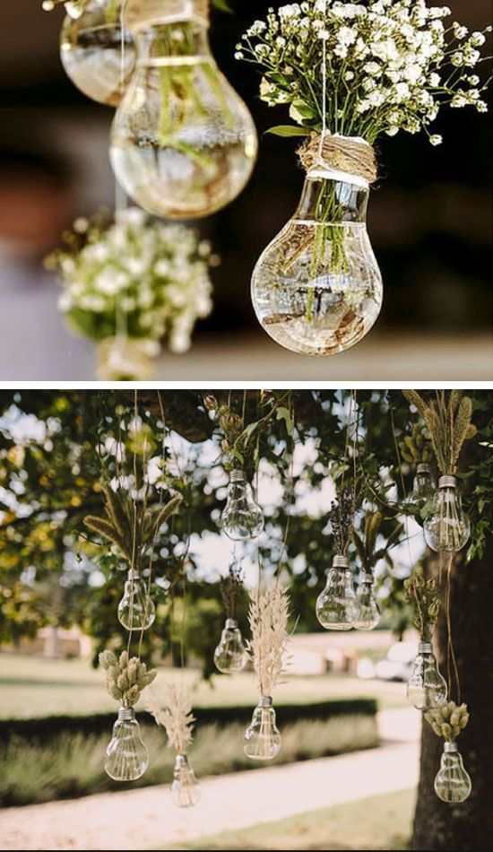 Hanging Light Bulb Vases  Easy Wedding Decorations Dollar Stores  Inexpensive Wedding Decor