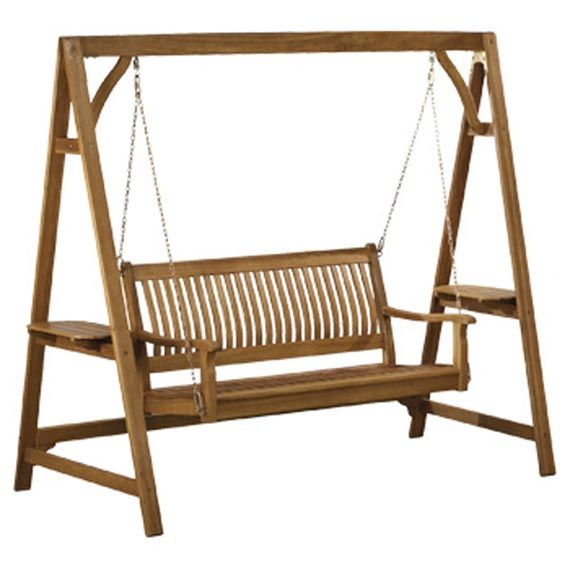 Wooden Patio Swing Chair Design For Comfortable Outdoor