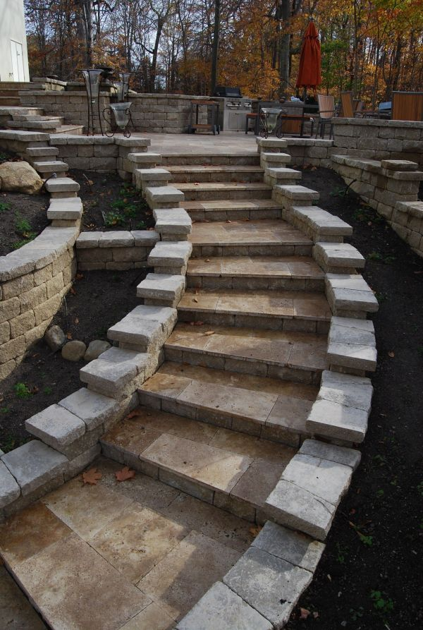 travertine steps hardscape pavers