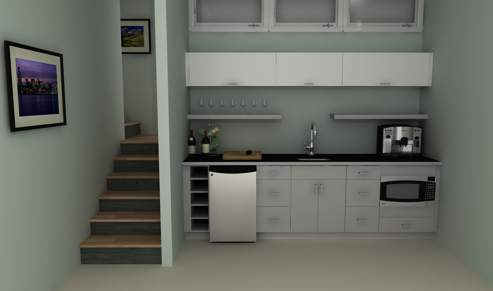 small kitchen solutions ikea cabinet redooring an basement kitchenette with high gloss doors in