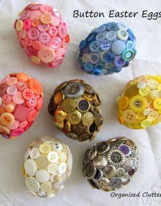 Styrofoam button easter eggs organizedclutterqueenspot also egg and craft rh pinterest
