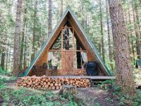 Time to build a fire and cheers in this A-Frame cabin ...