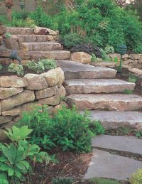 Landscaping St. Louis, natural stone steps, boulder