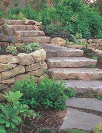 Landscaping St. Louis, natural stone steps, boulder