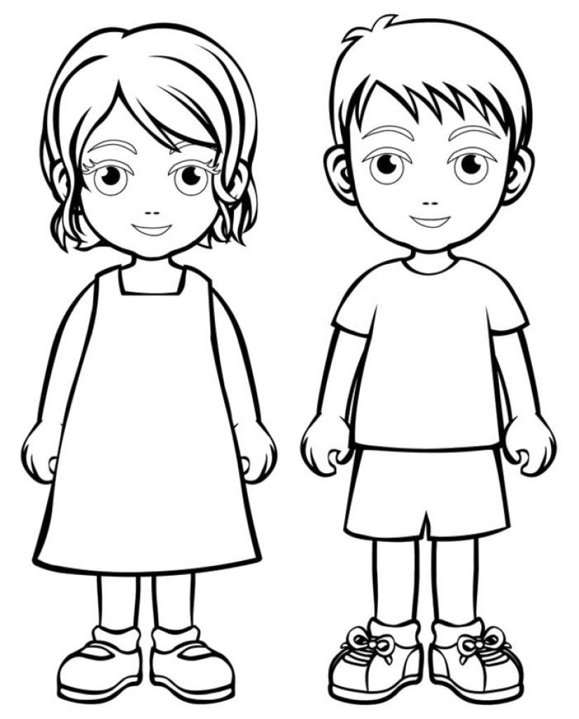 Boy Girl Coloring Page Boys And Girls Wear Colouring Pages