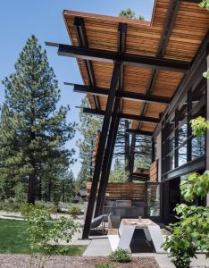 House also outdoor dining table of wood glass and steel home near lake tahoe rh pinterest