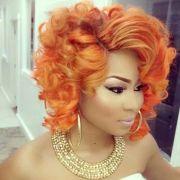 side part orange curls nicki