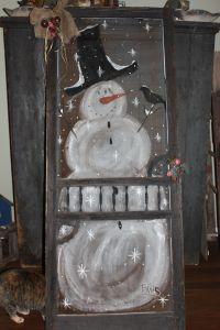 Hand painted snowman on old screen door original screen ...