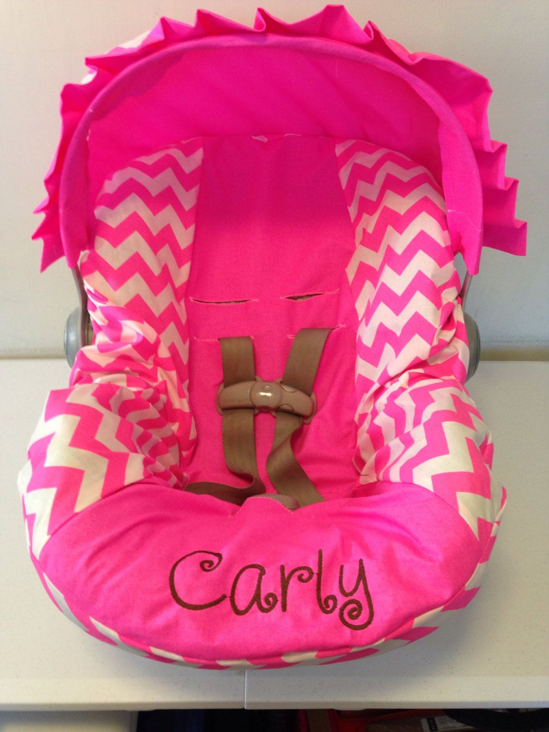 neon pink chair amazon sofas and chairs chevron infant car seat cover canopy with