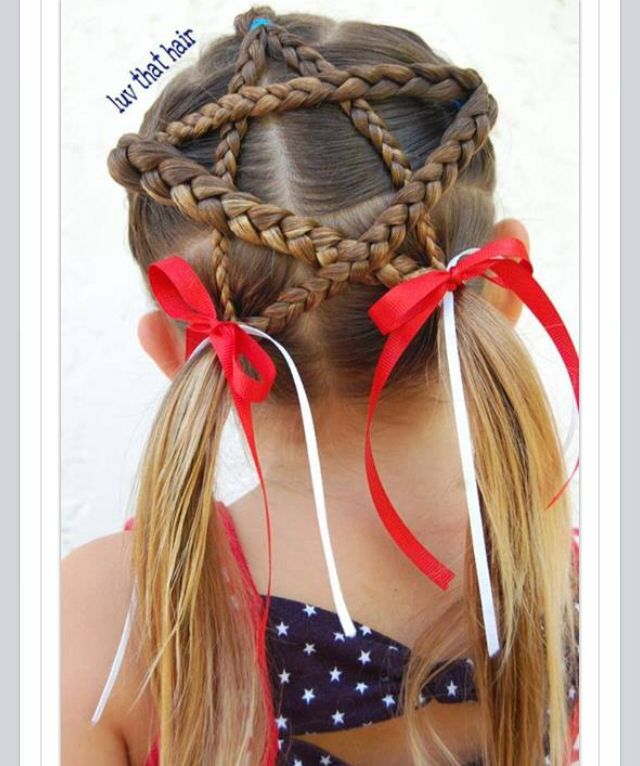 Braided Star For 4th Of July Hairstyles For Girls Patriotic