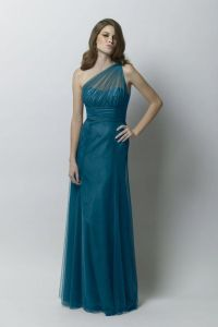 Teal, one-shoulder, floor-length bridesmaid dress ...
