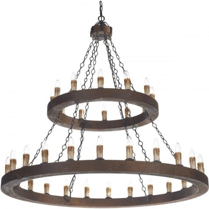 Two Tier Meval Wooden Chandelier Cartwheel Style With 36 Lights