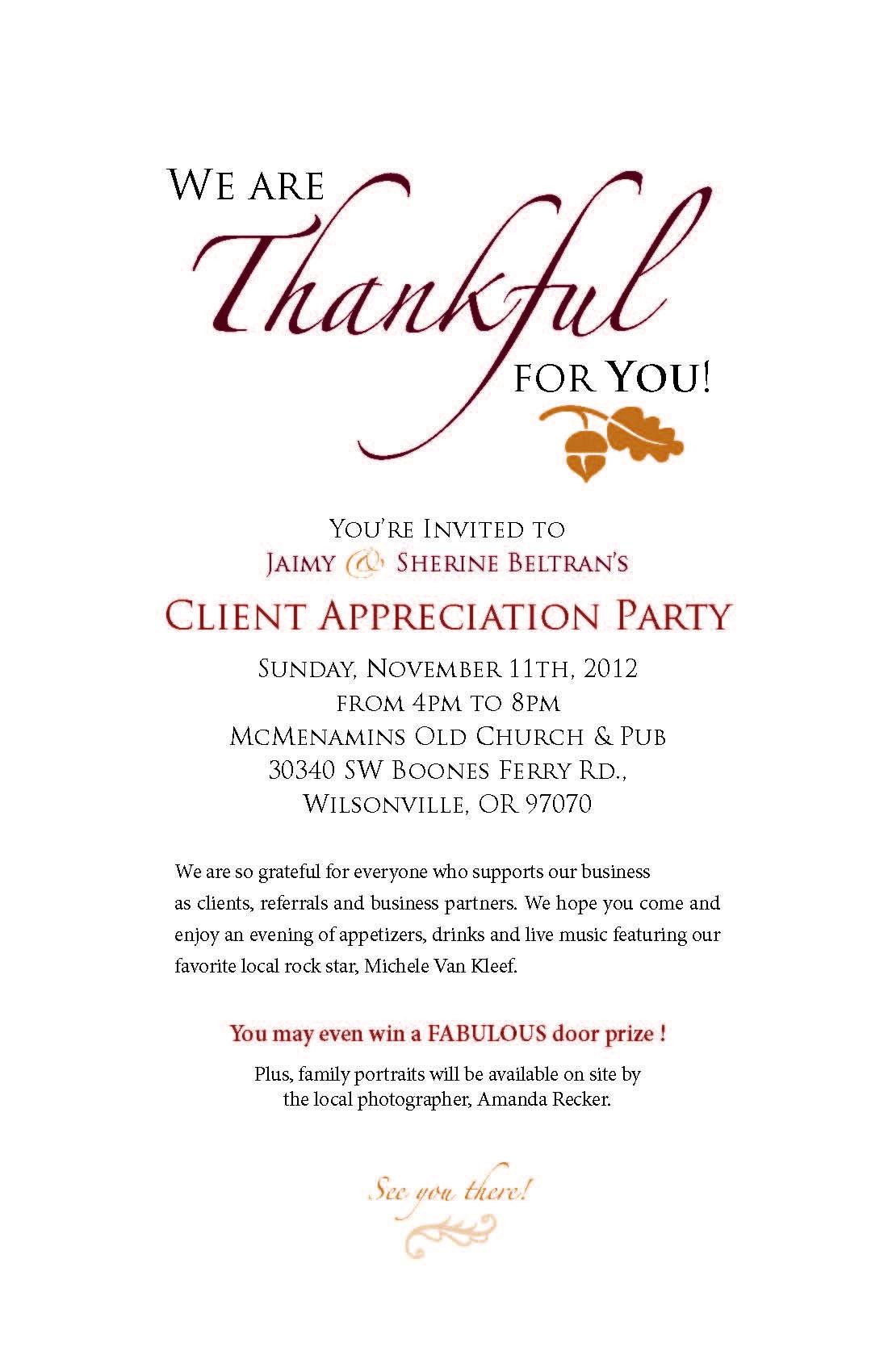 Client Appreciation Party Invitation Wording Inviviewco