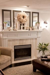 fireplace mantle - love the 4 vertical mirrors!! i need to ...