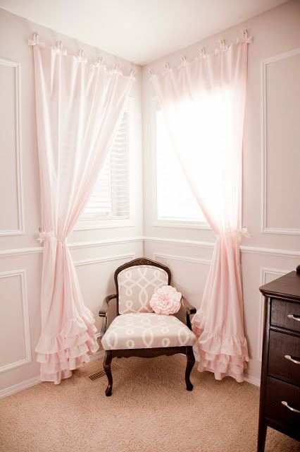 DIY Nursery In Pink & Grey Love The Ruffled Curtains And White