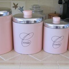 Decorative Kitchen Canisters Sets Modern Cabinet Knobs Fab Rare Vintage Pink & Chrome Retro Ransburg Canister Set ...