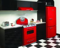 Luxurious Kitchen Design with Stylish Red Detail : Black ...