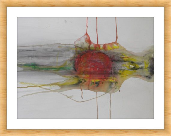 Abstract art watercolor print artwork fine gray red yellow also rh pinterest