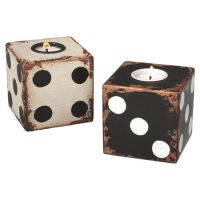 Two dice-shaped tealight holders in antiqued white and ...
