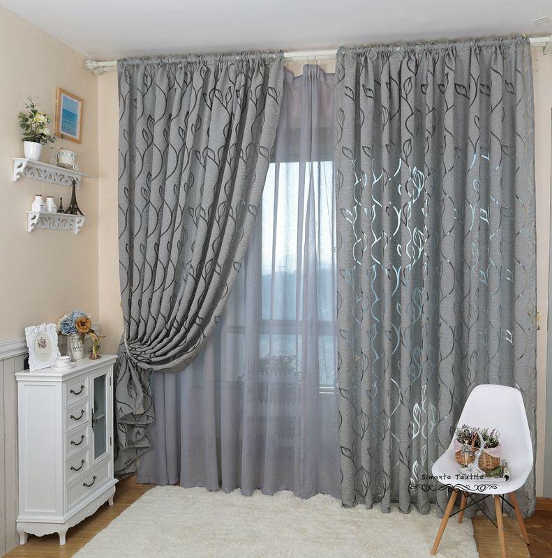 Leaf Style Design Jacquard Curtain Blind For Window Living Room
