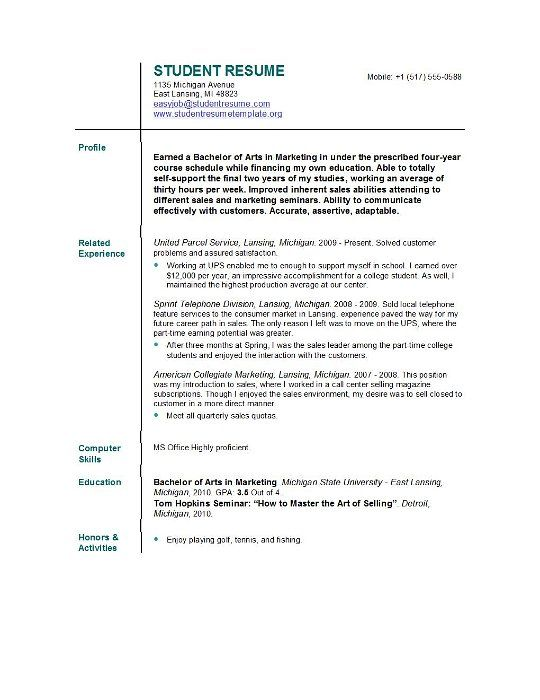 Resume Format For College College Admission Resume Template