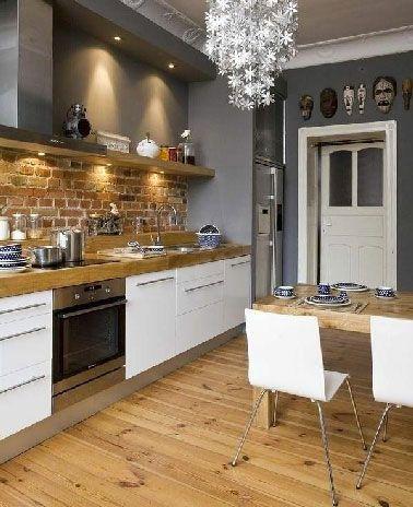 best cuisine grise et bois ideas on pinterest compteur de bois cuisine moderne and deco cuisine grise