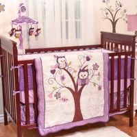 Purple Owl Animals Baby Girl Birds Themed 5pc w/ Bumper ...