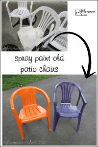 How to spray paint plastic chairs. You know those old ...