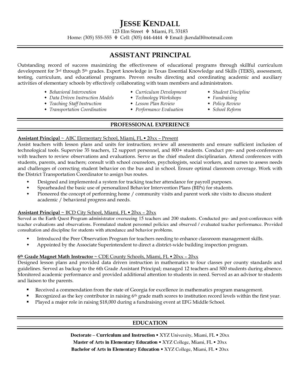 Resume For Assistant Teacher Resume And Vice Principal Assistant Principal Resume