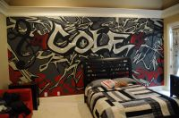 A mural that I did for a teenage boy's room. | My Artwork ...